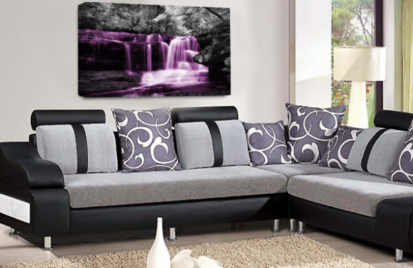Waterfall Wall Art Purple Grey White Landscape Canvas Forrest Picture